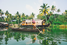 India Alleppey Man on Boat